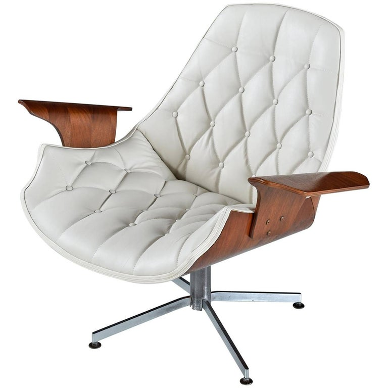 George Mulhauser Plycraft Bent Ply Horn Tip White Leather Lounge Chair