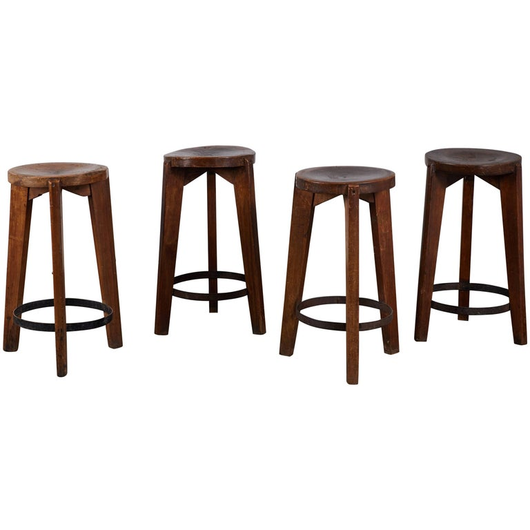 Set of Four Stools by Pierre Jeanneret for Punjab University in Chandigarh For Sale