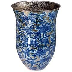 Contemporary Japanese Blue Gilded Imari Porcelain Vase by Master Artist