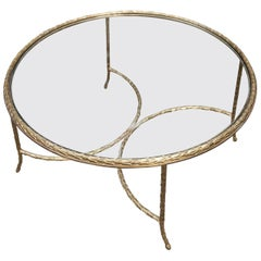 Maison Charles Gilt Bronze Coffee Table Round Marked