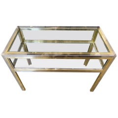 Brass Chrome Glass Display Table