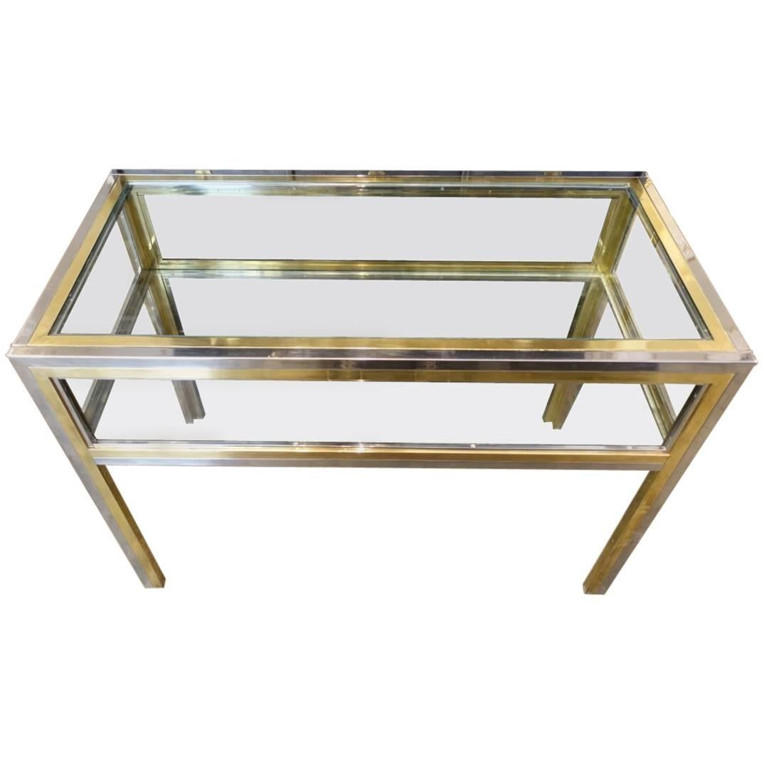 Brass Chrome Glass Display Table For Sale