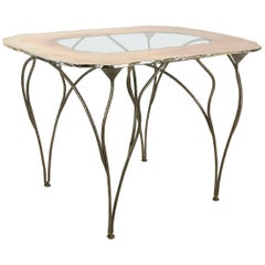 """Flower"" contemporary vanity console table , flower shaped silvered Glass, iron"