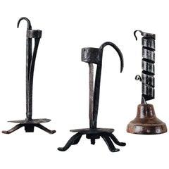 18th-19th Century Wrought Iron Candlesticks