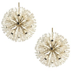 Set of Emil Stejnar Sputnik Flower Chandeliers, for Rupert Nikoll, 1950s