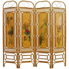 Chinese Bamboo Paravent with Landscape Paintings, 1950-1960s Four Panels
