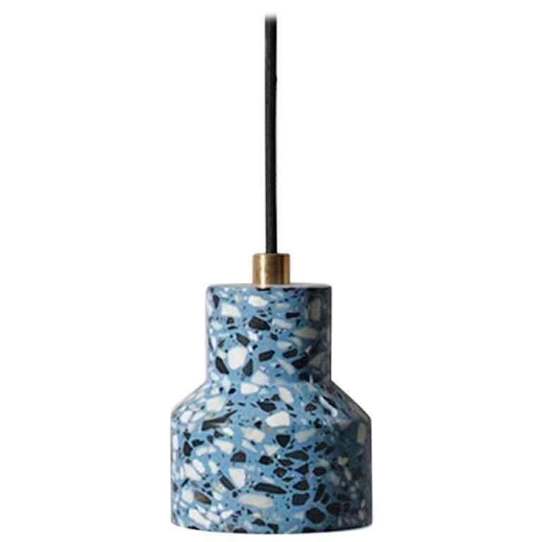 Tu, Blue Terrazzo and Concrete Pendant Lamp