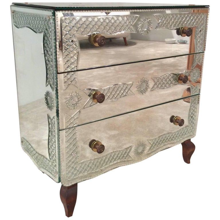 French Mirror Commode, Chest of Three Drawers, Dresser, circa 1940, Engravings