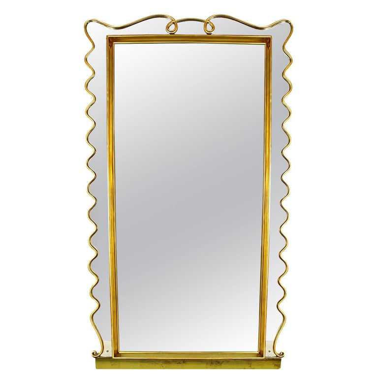 1940s Wall Mirror, Acid Etched Decoration, Golden Leaf Stucco Frame, Italy