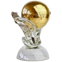 British Studio Art Glass 'Golden Globe' Sculpture signed by Adam Aaronson, 1997