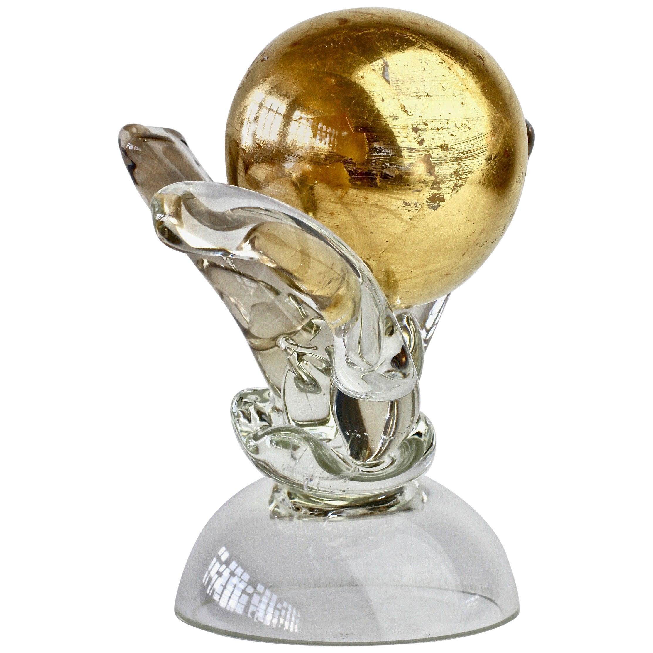 British Studio Art Glass 'Golden Globe' Sculpture signed by Adam Aaronson, 1997