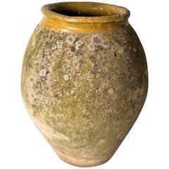 Biot Terracotta Oil Jar with Ochre Glaze and Patination, Late 18th Century