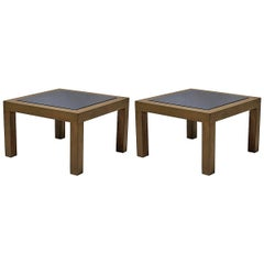 Pair of 1950s Oak and Slate Coffee Tables