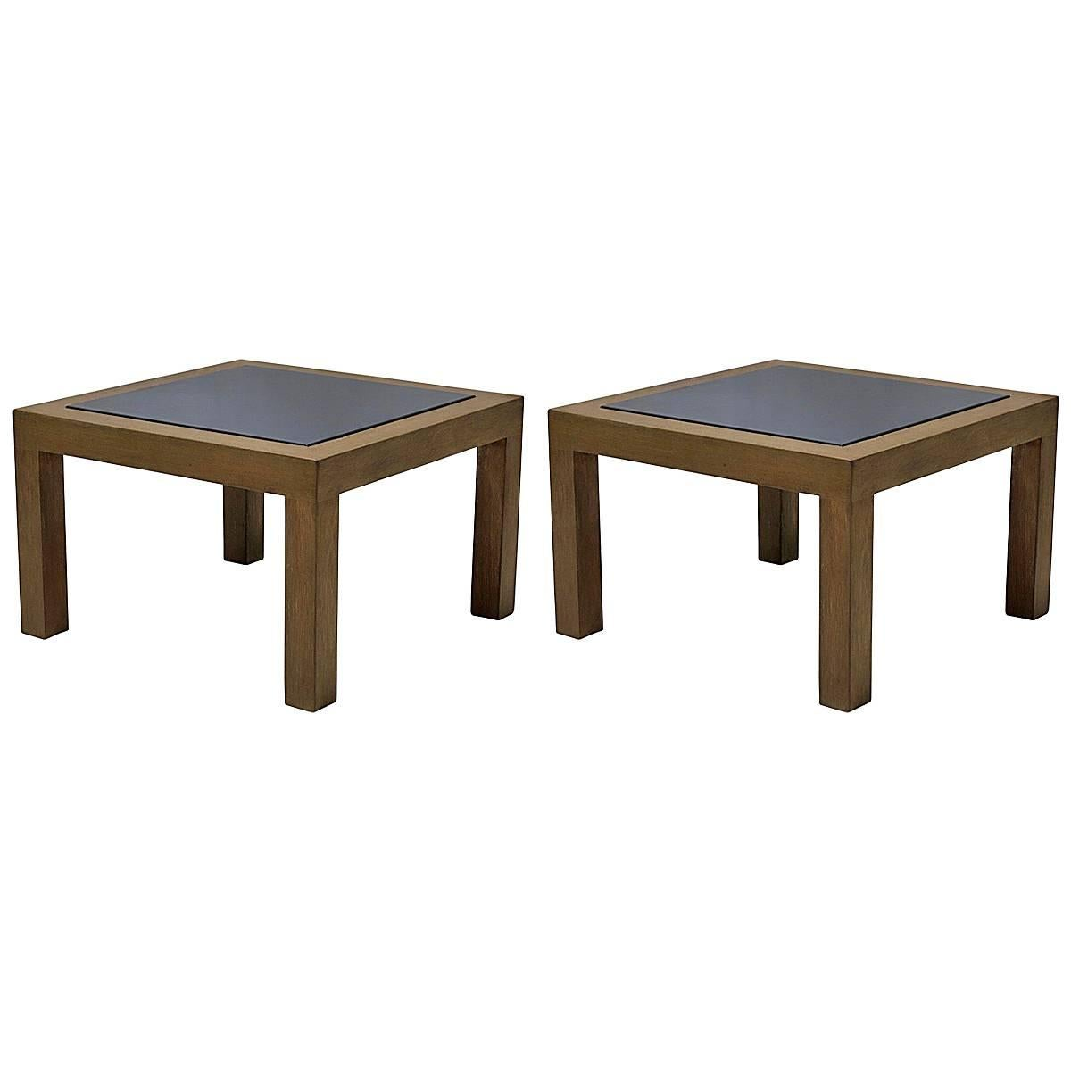 Pair Of 1950s Oak And Slate Coffee Tables For Sale