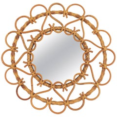 Small Rattan and Bamboo Circular Mirror Framed with Hearts, Spain, 1960s
