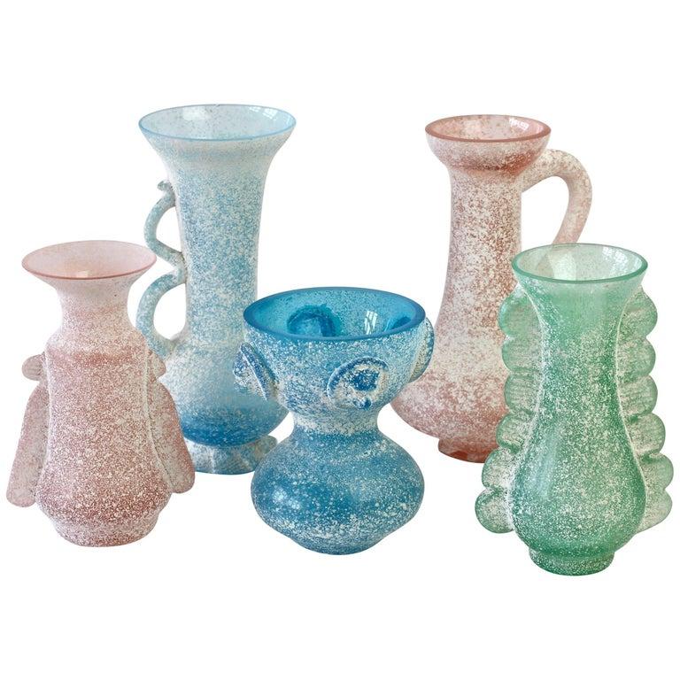 Seguso Vetri d'Arte Ensemble of 'A Scavo' Murano Art Glass Vases and Vessels