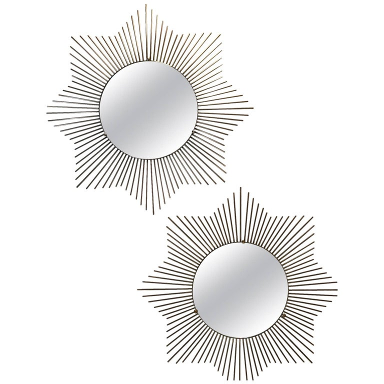 Pair of 1970s French Sunburst Mirror