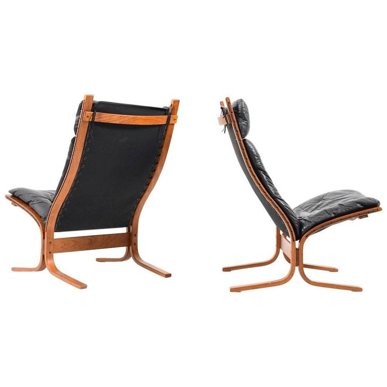 Pair of High Back Lounge Chairs by Ingmar Relling for Westnofa