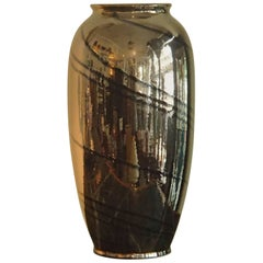 Midcentury Dark Bronze and Black Glaze Large Ceramic Vase Bay W:-Germany