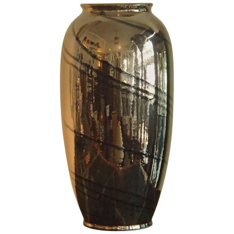 Midcentury Dark Bronze and Black Glaze Large Ceramic Vase Bay W:-Germany