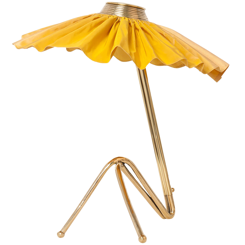 Freevolle Sculpture Table Lamp, cast melted brass, sun silk Taffeta
