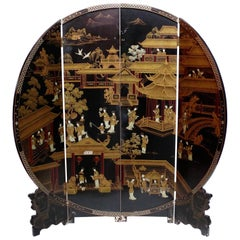 Round Black Lacquered Screen with Chinoiserie Decoration, circa 1960