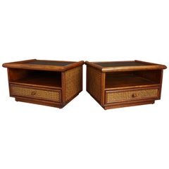 Pair of Rattan and Cane Bedside Tables
