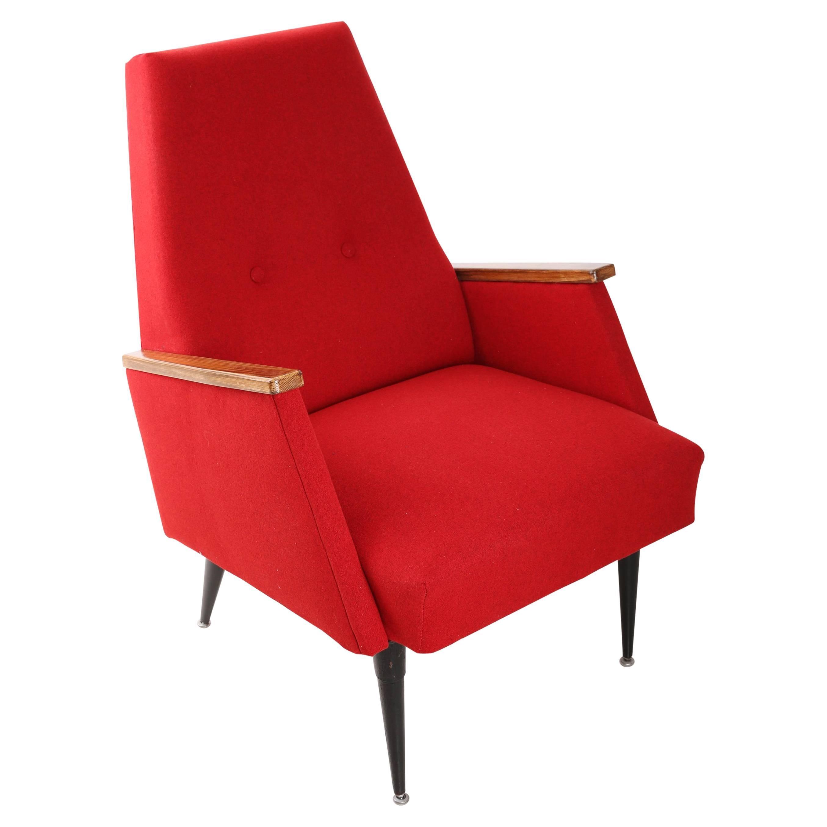 Charmant Art Deco, Vintage Red Big Armchair, 1960s