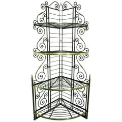 Early 20th Century Wrought Iron & Brass Corner Baker's Rack, France Circa 1920