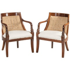 Pair of Charles X Period Mahogany Framed Chairs