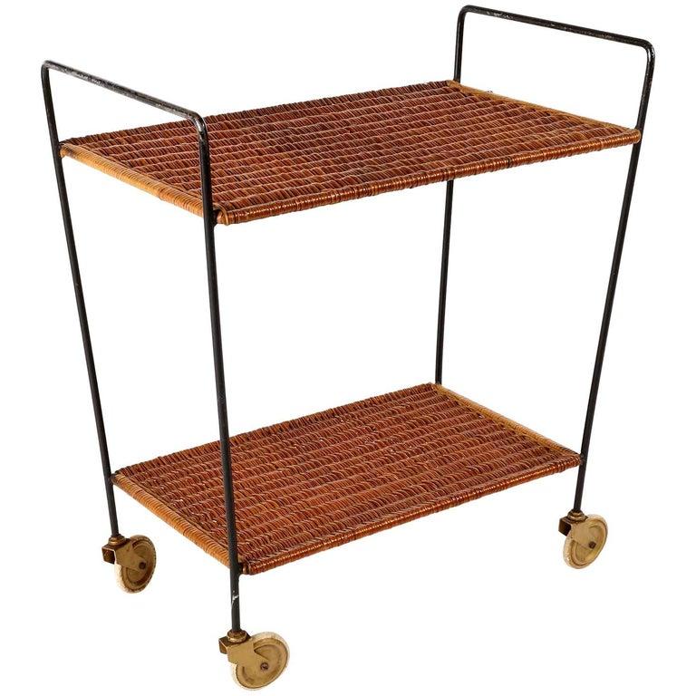 Wicker Trolley Bar Cart, 1950s