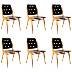 Set of Six Stacking Chairs Franz Schuster, Bicolored Beech Black, Austria, 1959