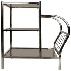 Chrome and Smoked Glass Sofa Table with Magazine Rack