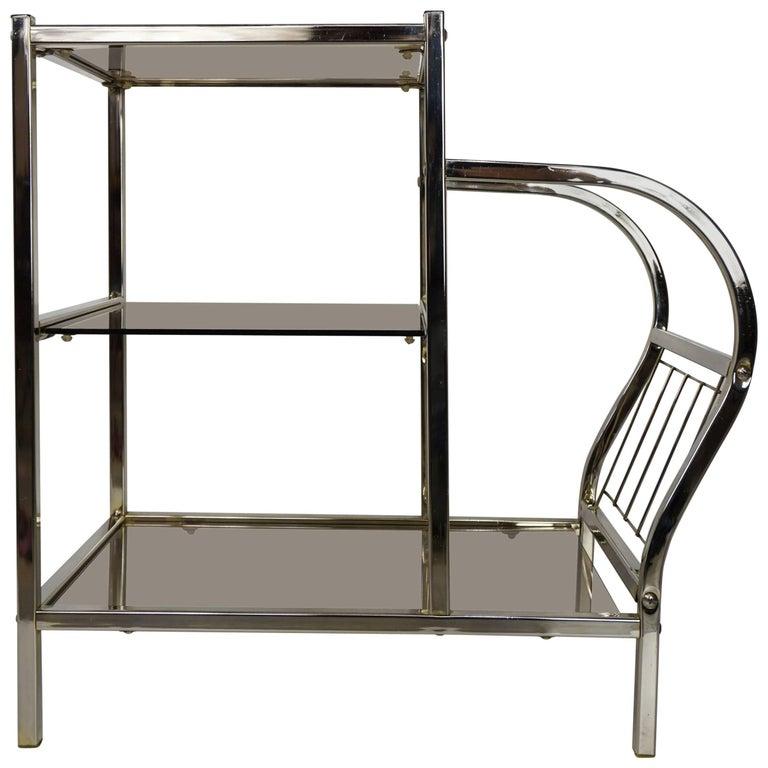Chrome and Smoked Glass Sofa Table with Magazine Rack