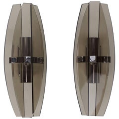Pair of Italian Design Chrome and Smoked Glass Sconces by Veca