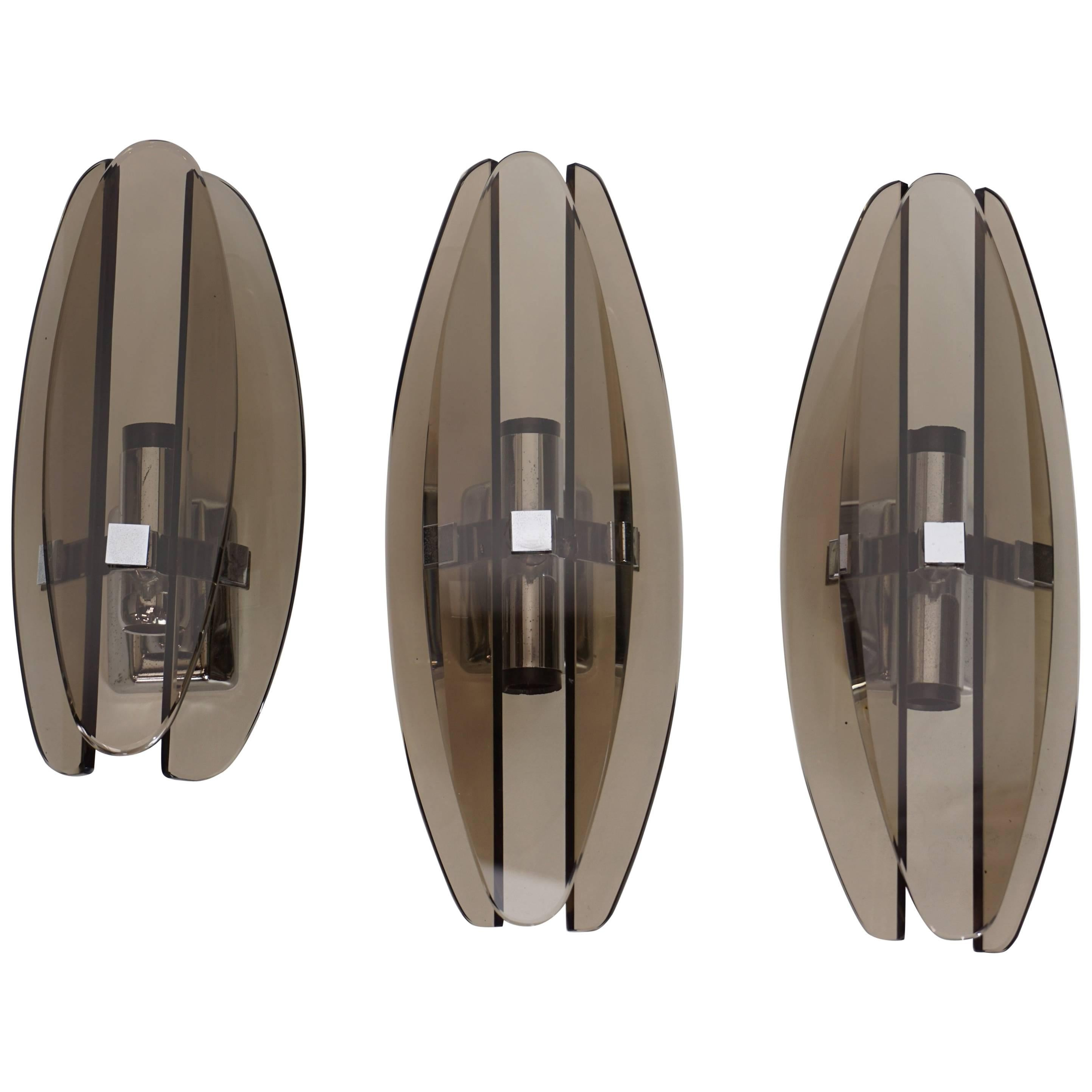 Set of Three Italian Design Chrome and Smoked Glass Sconces by Veca