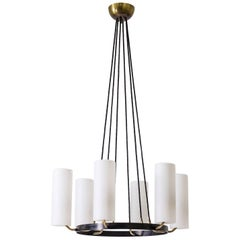 Large Modernist Satin Glass and Brass Chandelier, 1950s