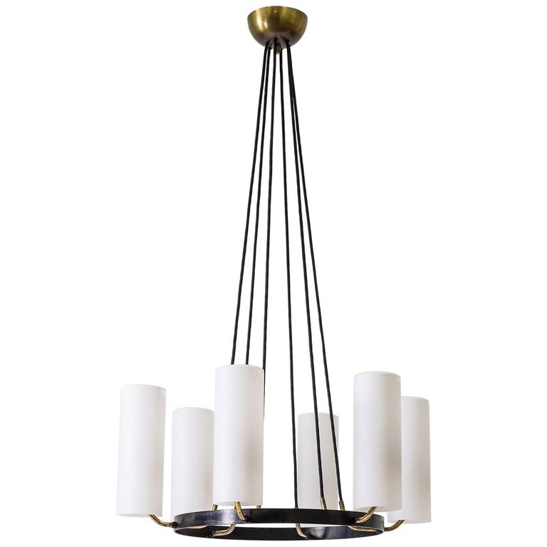 Large Modernist Satin Glass and Brass Chandelier, 1950s For Sale