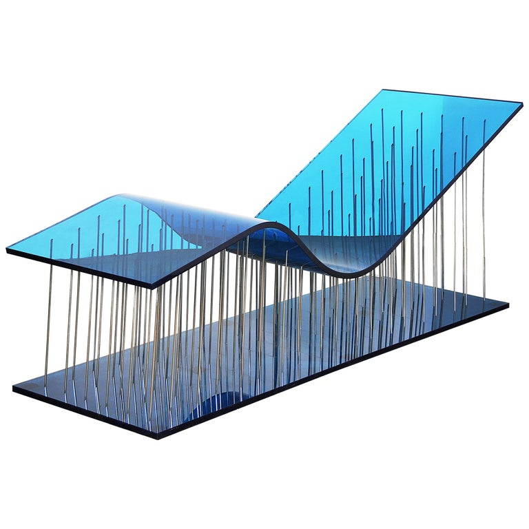 Contemporary Kiss Chaise Longue in Plexiglass and Polished Steel
