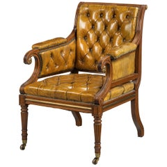 George III Period Mahogany Framed Library Bergere Chair