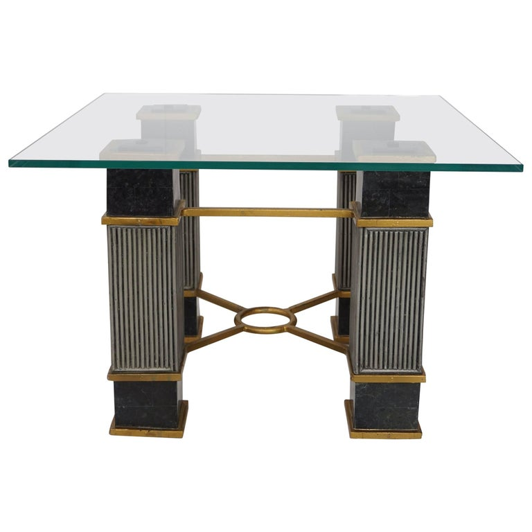 Black Marble and Glass Coffee Table Hollywood Regency Style