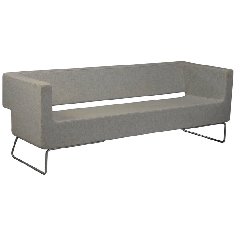 Post-Modern Three Person Sofa In Gray Wool For Sale At 1stdibs