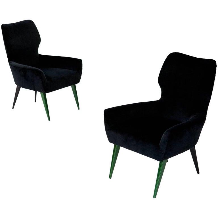 Pair of Italian Modern Easy Chairs with New Black Velvet Upholstery, 1950s For Sale