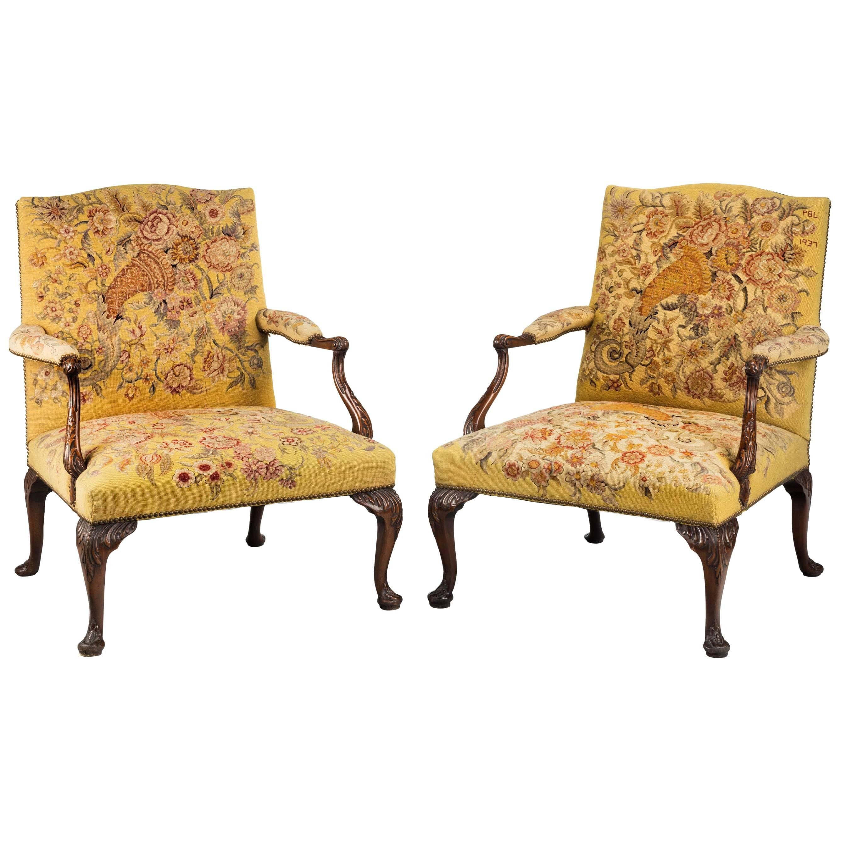 Unusual Pair Of George III Style Mahogany Framed Gainsborough Chairs For  Sale