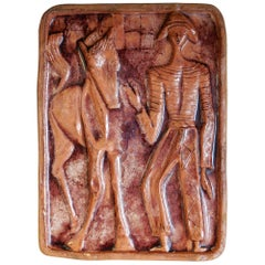 Midcentury Bitossi Ceramic Sculpture Wall Plaque, 1950s