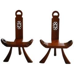 Modernist Pair of Midcentury Petit Walnut Chairs, 1950s