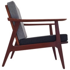 Vintage Midcentury Lounge Chair Reupholstered in Two-Tone Wool Fabric
