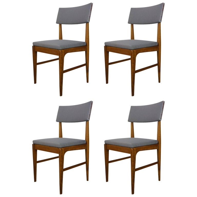 Set of Four Wooden Teak and Fabric Scandinavian Style Dutch Design Chairs