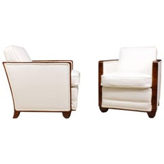 Walnut Art Deco Armchairs, circa 1930