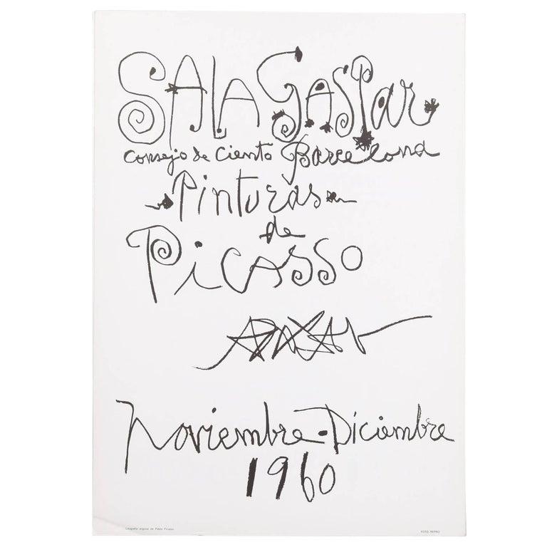 """Original Picasso lithographic poster """"Pinturas de Picasso"""", 1960"""